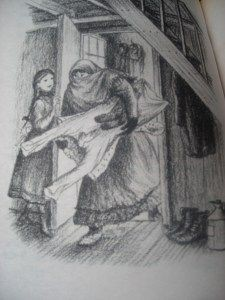 Ma Ingalls bringing in the wash. Illustration by Garth Williams.