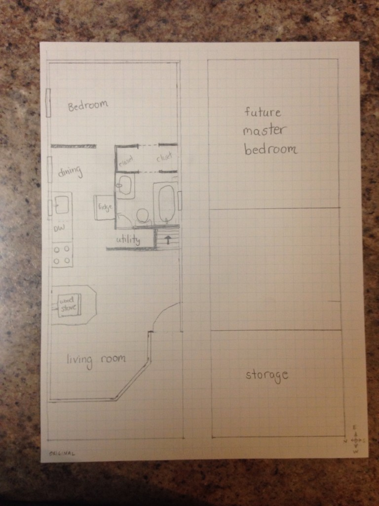 Sorry about the lousy photo quality! I couldn't get my mom's printer to scan, so I ended up snapping a photo of the floor plan with my iPhone instead.
