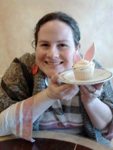 Mindy with the perfect cupcake