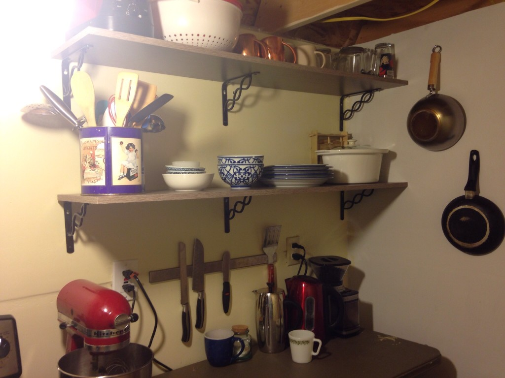 These shelves are cheap, pre-made ones from Home Depot, but they've made a world of difference in our kitchen.